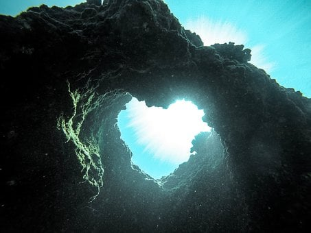 Sea, Water, Ocean, Light, Deep, Rock, Formation, Heart