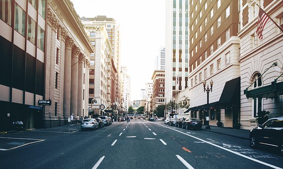 Road, City, Cars, Buildings, Structure, Infrastructure