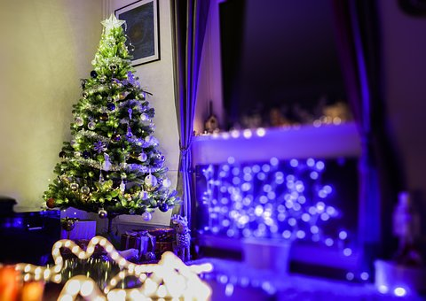 Blue, Lights, Christmas Tree, Gifts, Decoration