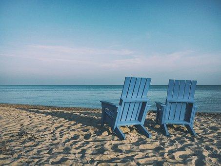 Beach, Sand, Chairs, Ocean, Sea, Water, Sunshine