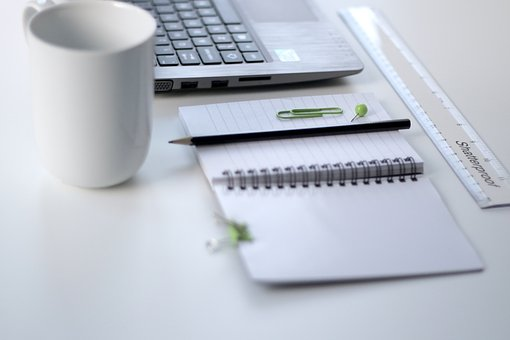 White, Table, Ruler, Notebook, Pencil, Pin, Mug, Cup