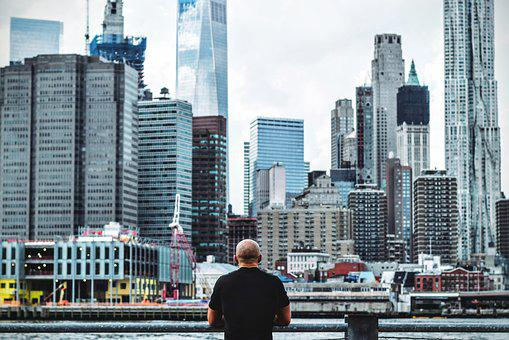 People, Man, Alone, Thinking, Skyline, Building