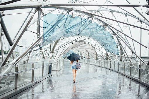 Art, Rain, Symmetry, Woman, Alone, Sad, Architecture