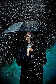 Dark, Man, People, Raining, Umbrella, Mask, Bottle