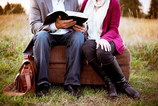 People, Man, Woman, Couple, Sitting, Reading, Book