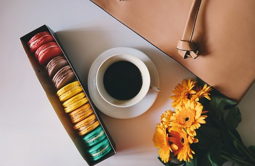 Coffee, Cup, Saucer, Colorful, Pastry, Sweets, Macaroon