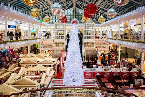 Shopping Mall, Christmas, Christmas Tree, Lights, Ball