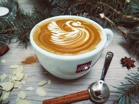 Coffee, Latte, Art, Espresso, Steamed Milk, Cup, Spoon