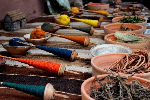 Stick, Pot, Yarn, Blue, Yellow, Orange, Leaves, Cloth