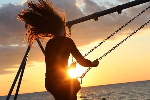 Sunlight, Sunset, Girl, Hair, People, Wind, Seesaw