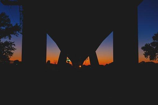 Architecture, Silhouette, Infrastructure, Bridge, Trees