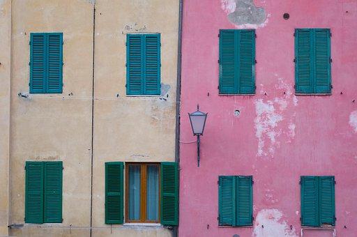 Pink, Wall, Building, Design, Window