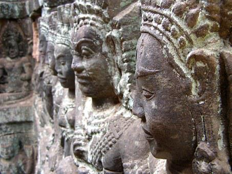 Angkor Wat, Cambodia, Khmer, Relief, Bust, Statue, Asia