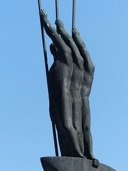Monument, Bronze, Statue, Men, Boat, Rowing, Paddle
