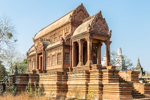 Cambodia, Kampong Cham, Khmer, Tomb, Building, Art