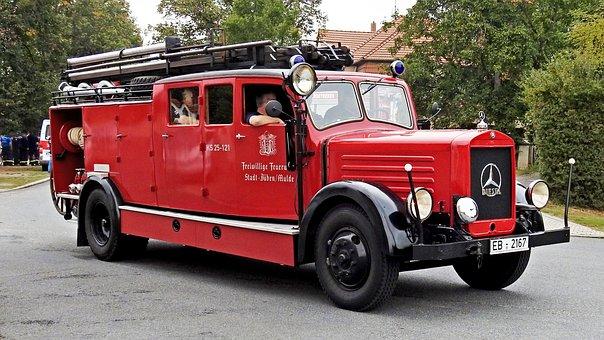 Fire Truck, Fire, Historically, Mercedes Benz