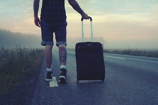 Hiker, Traveler, Trip, Travel, Man, Goes, Suitcase