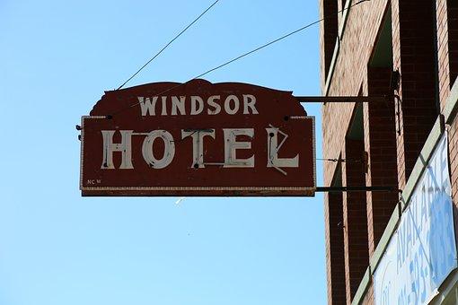 Hotel, Sign, Motel, Windsor Hotel