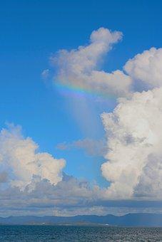 Rainbow, Cloud, Sky Blue, White, Iriomote, Sea
