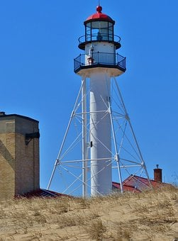 Lighthouse, Light, House, Point, Whitefish, Michigan