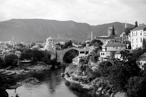 Mostar, Montenegro, Black And White Photo, Monument
