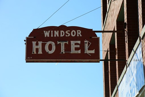 Hotel, Sign, Motel, Windsor Hotel