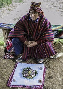 Shaman, Peruvian, Coca Leaf, Ceremony, Alter
