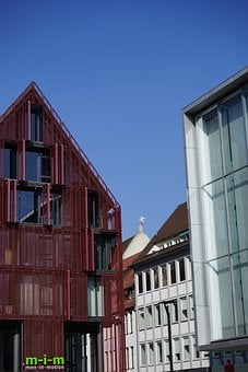 Ulm, Downtown, House, Facade, Red, Architecture