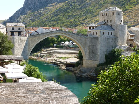 Bridge, Bosnia, Mountain, Stone, Landscape, River
