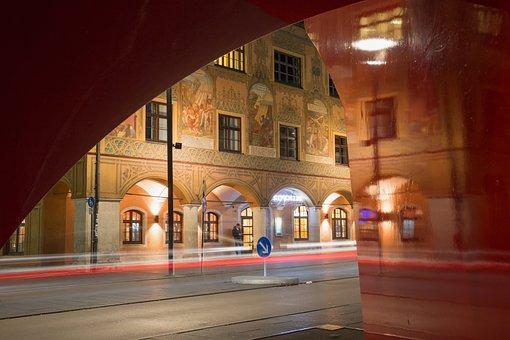 Town Hall, Ulm, Facade, Painting, Frescoes, Mural