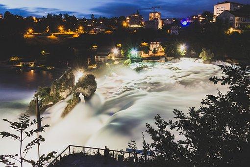 River, Rheinfall, Switzerland, Water, Waterfall, Nature