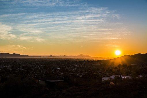 Phoenix Az, Sunset, Desert, Az, Arizona, Western