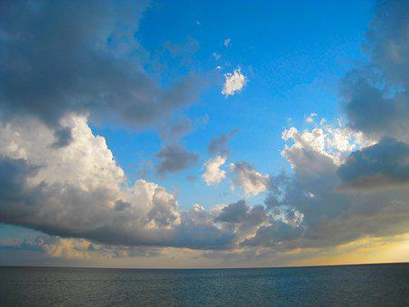Evening, Dynamic, Sea, Horizon, Sky, Cloud, Wind