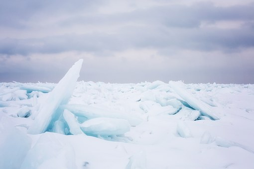 Lake Huron, Frozen, Ice, Blue, Winter, Icy, Snow, Cold