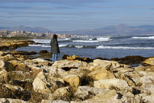 Alicante, Spain, Coast, Coastal, Woman, Person, People