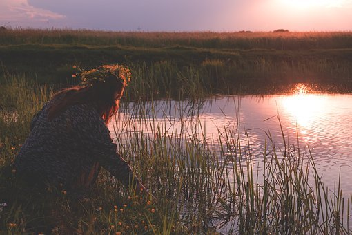 Woman, Girl, Lady, People, Bend, Crouch, Lake, Grass