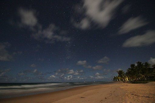 Stars, Sky, Clouds, Nture, Green, Plant, Trees, Sea