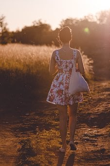 Woman, Girl, Lady, People, Back, Walk, Path, Style