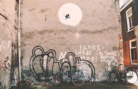 Still, Graffiti, Vandalism, Street, Wall, Art, Bicycles