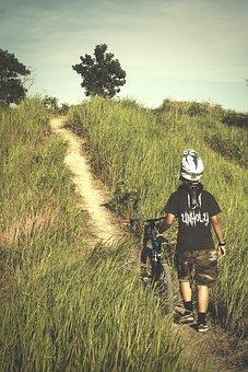 Guy, Man, Male, People, Walk, Ride, Mountain, Bike