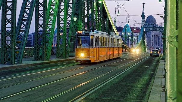 Tram, Budapest, Hungary, Vintage, Old, Abernd, Bridge