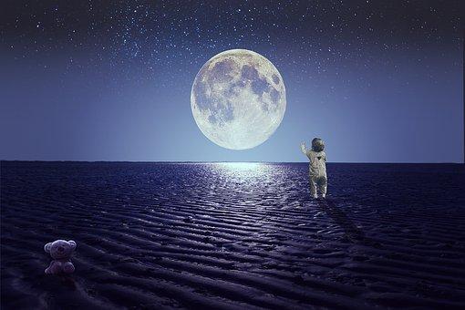 Moon, Full Moon, Star, Sky, Little Boy, Child