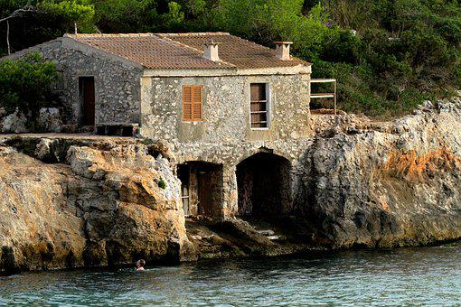 Boathouse, Swimmer, Mallorca Spain, Cove, Cala, Spain