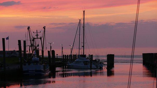 Port, Sea, Sunset, Orange, North Sea, Fishing Boat