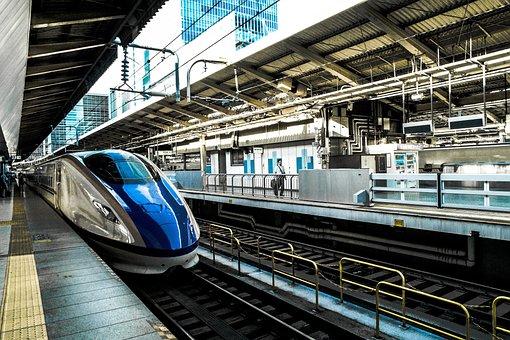 Transportation, Bullet, Train, Platform, Station, Rail