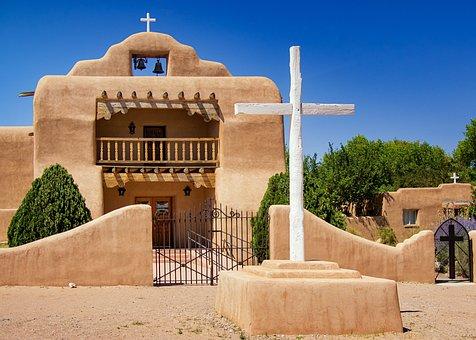 New, Mexico, Adobe, Church, Southwest, Architecture