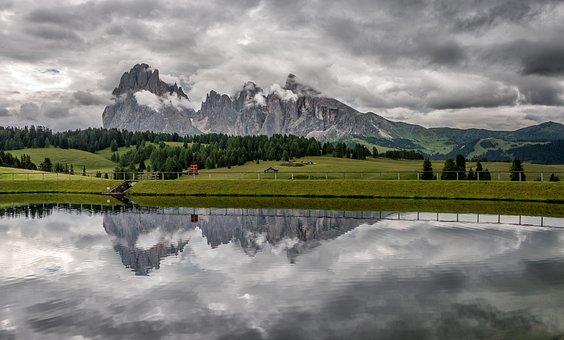 Alm, Italy, Siusi, Alpe, Tyrol, Seiser, Di, Lake