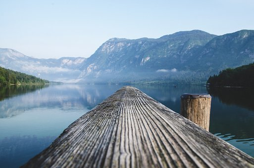 Lake, Slovenia, Pier, Water, Background, Alps, Nature