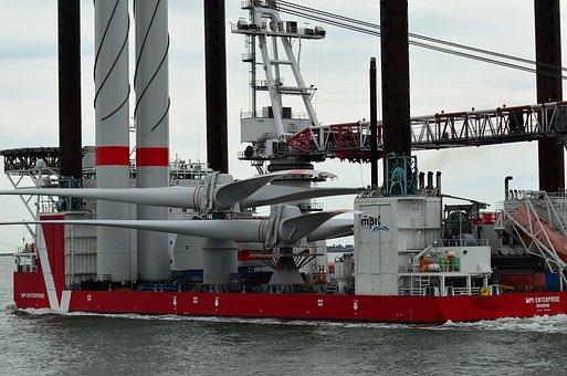 Borkum, Working Ship, Wind Power, Transport Ship