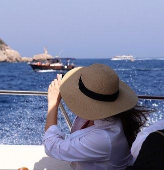 Sun Hat, Hat, Straw Hat, Sea, Boat, Sailing, Sun